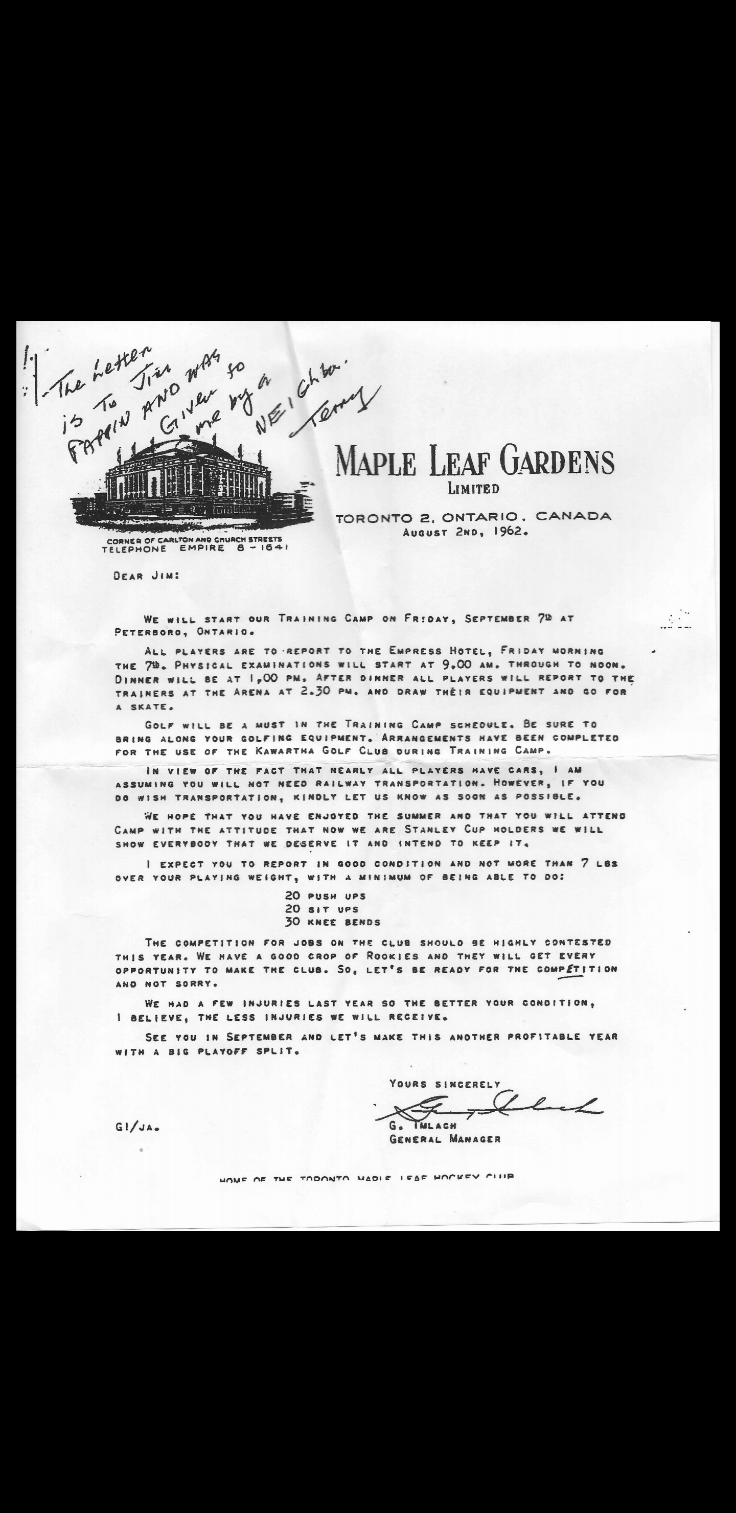 1962 letter from Punch Imlach to his players