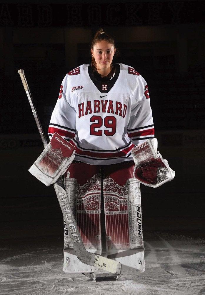 Lindsay Reed of Harvard, showing off sick goalie pads