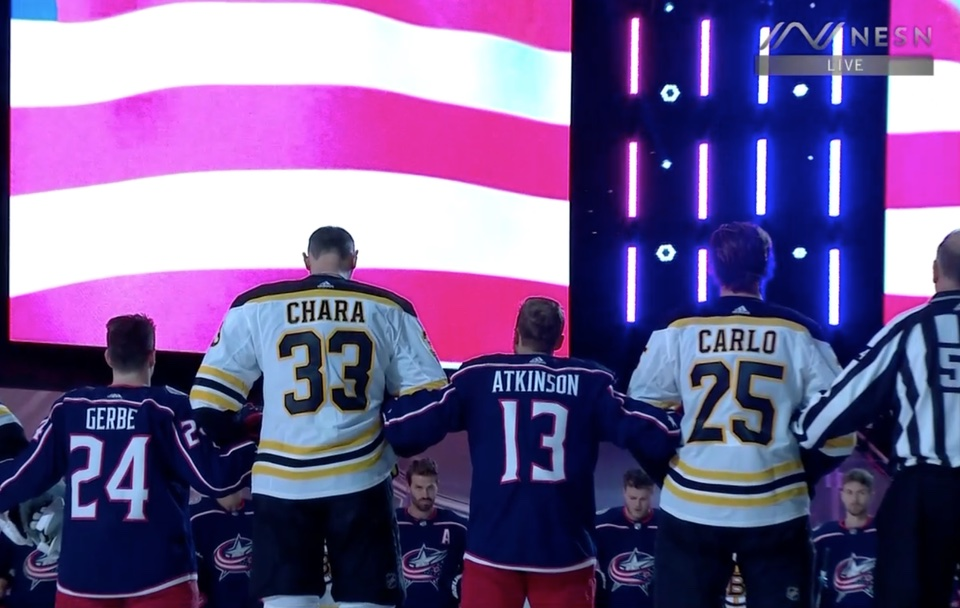 Chara 6'9 standing next to Gerbe 5'4