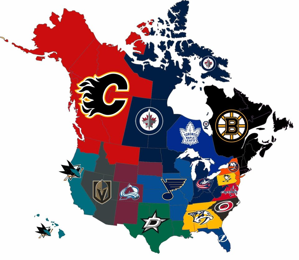 Closest playoff team to each state/province (measured by proximity to capital city)