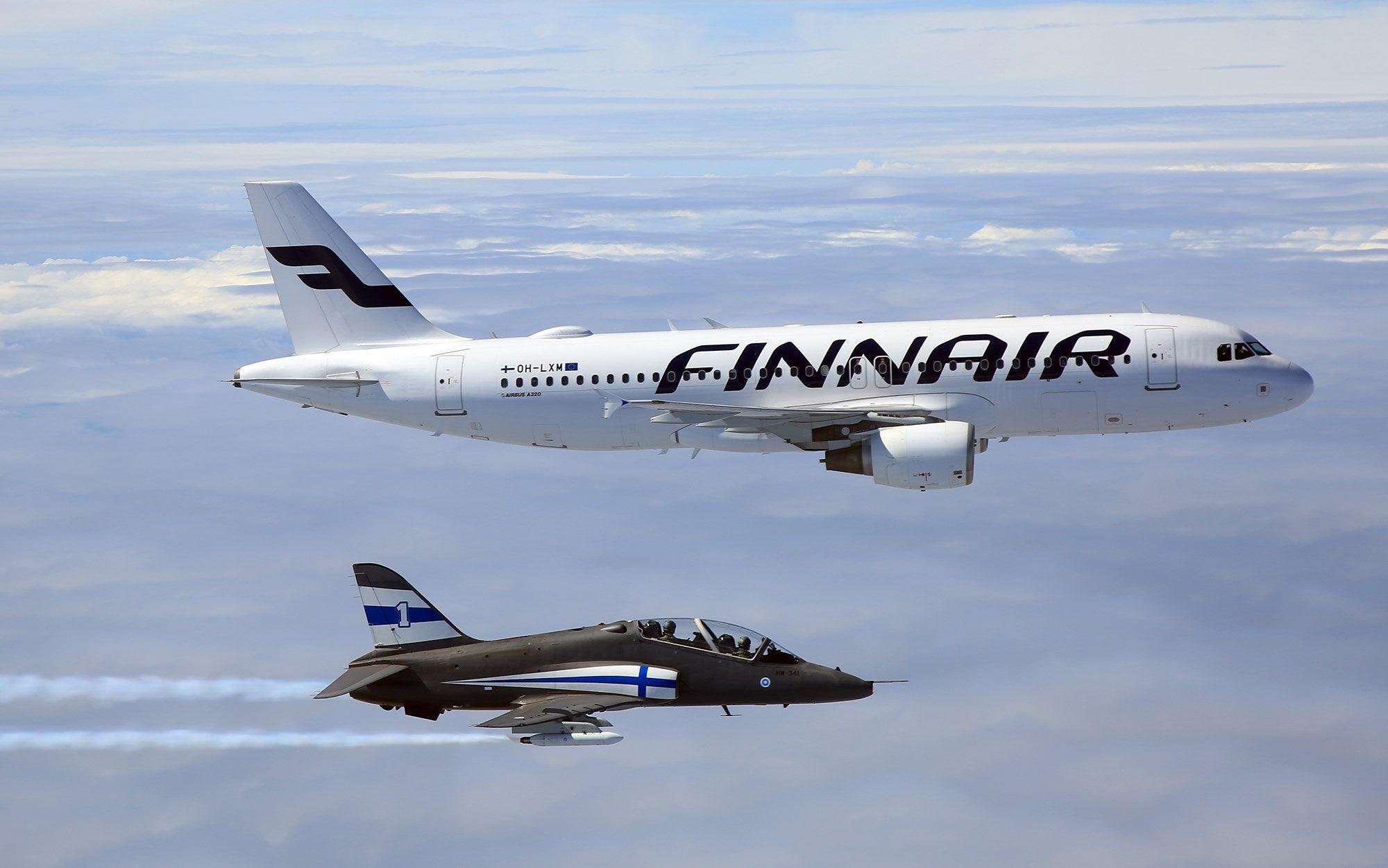 The Finnish Air Force escort the Finnish IIHF 2019 World Champions home