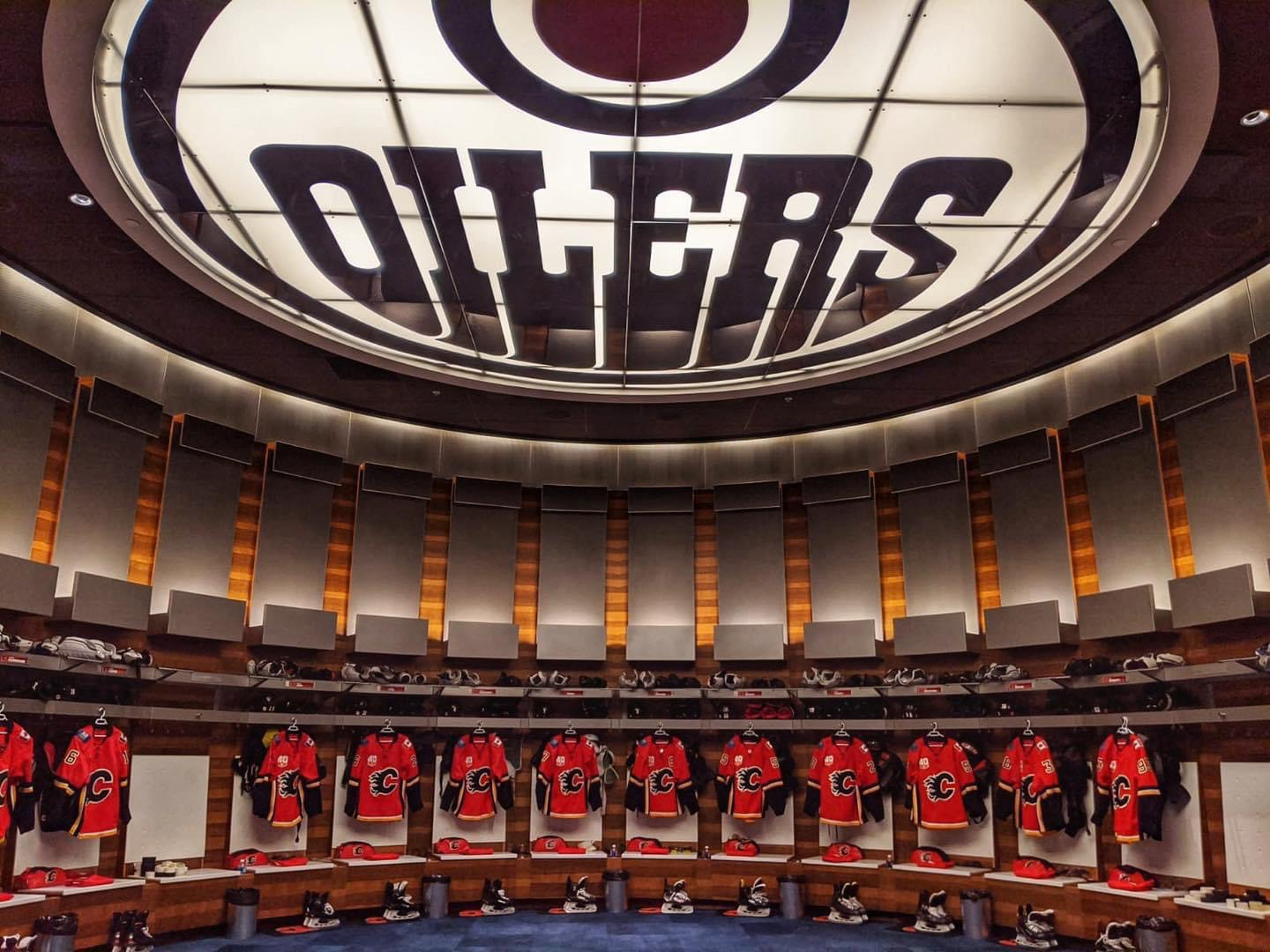The Calgary Flames dressing room at Edmonton
