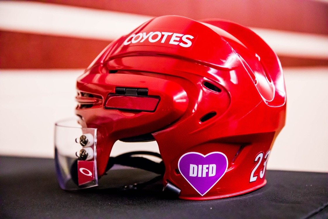 All Arizona Coyotes will wear pink DIFD decals for Jacob Chychruns cousin Daron who committed suicide at 14 💜 #DIFD