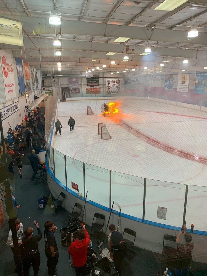 Zamboni on fire!