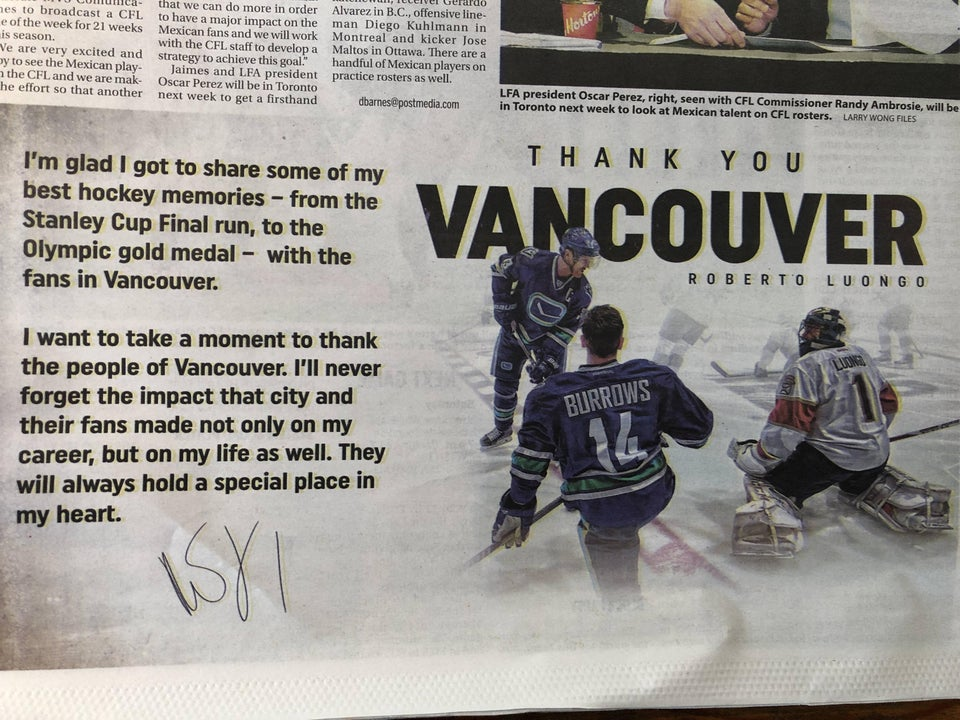 Thank you letter from Luongo in todays Vancouver Province