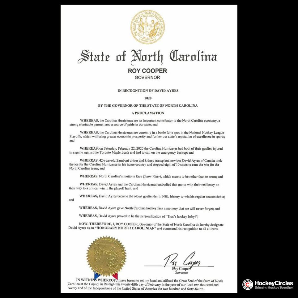 """North Carolina's Governor honours David Ayres as an """"Honorary North Carolinian"""""""