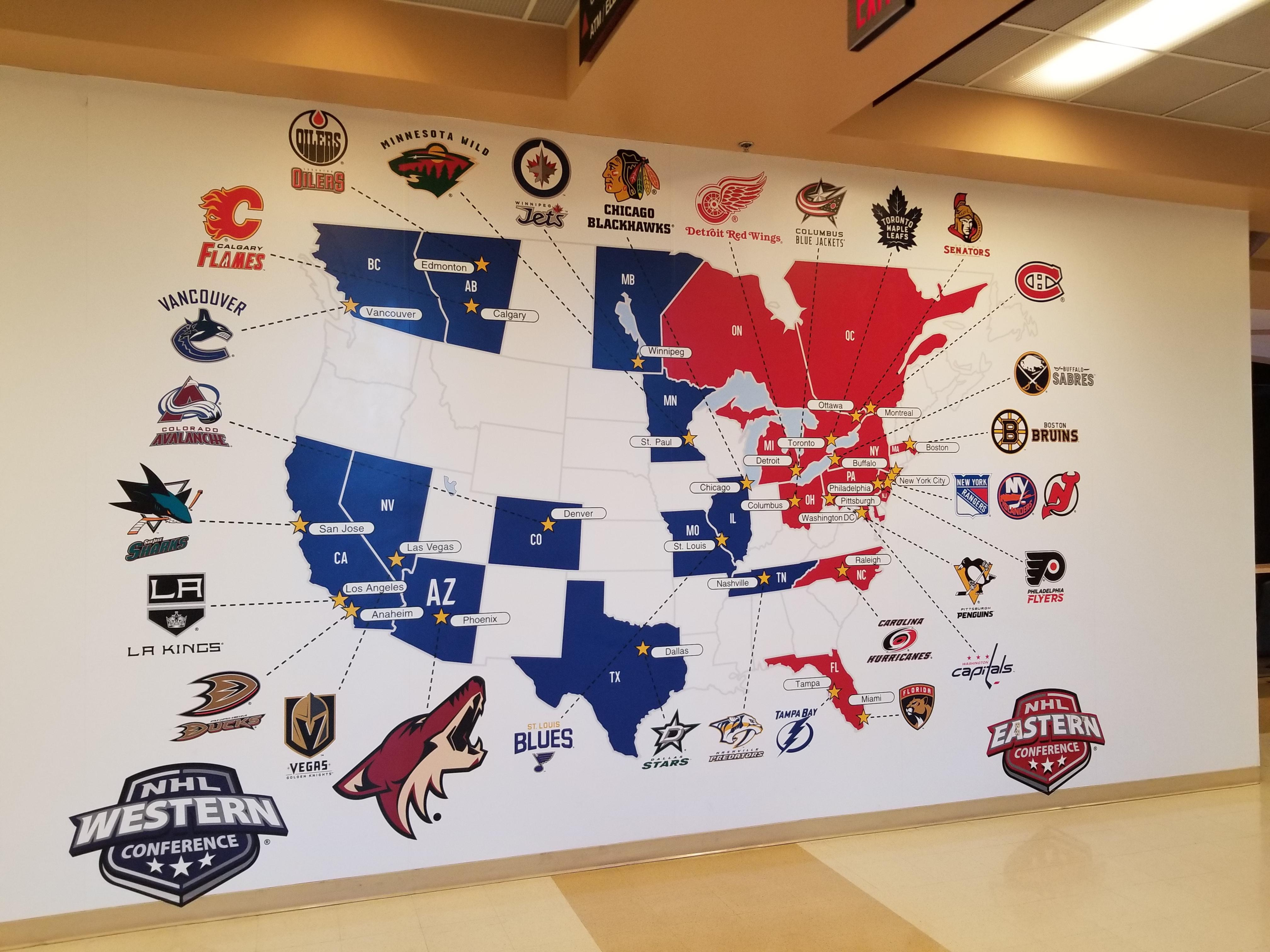 Map of every team in the NHL